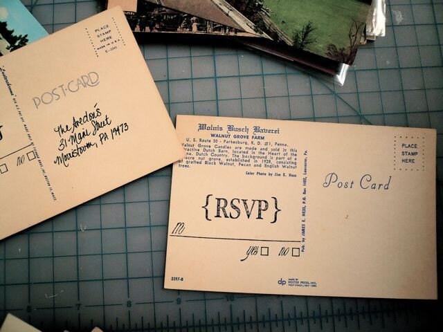 Custom Vintage Geographic RSVP postcards