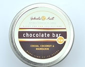 Chocolate Bar with REAL Cocoa Vanilla and Sweet Mandarin 6oz 35 hour burn time travel tin candle