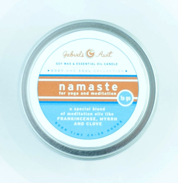 Namaste Body and Soul Line Meditation 6 ounce 35 hour burn time candle with Myrrh Frankincense Sandalwood and other oils Non Toxic Eco Friendly Natural