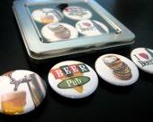 Set of 4 BEER LOVERS Fridge Magnets in Tin Box