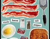 DIY Ultimate 17 piece Bacon, Eggs, Toast Fridge Magnet Set