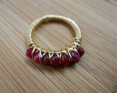 Authentic Red Ruby Faceted Beads Wrapped in Nugold Brass Wire Wrapped Ring Size 5