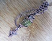 Green Peridot Chunk tiny Herkimer Diamond Quartz Wand Pendant Wire Wrapped in Oxidized Copper
