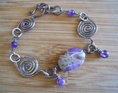 Reserved for Ann Sterling Silver and Copper Mixed Metal Chevron Amethyst Bracelet and Ring