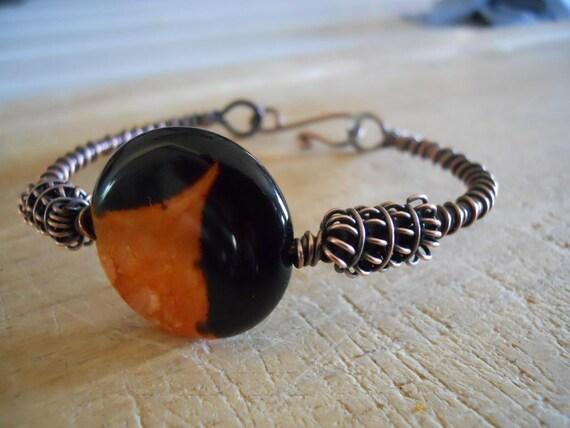 Oxidized Copper Wire Wrapped Bracelet Black Orange Druzy Agate Hook Bangle