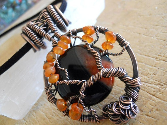 Sunset Tree of Life Black Druzy Agate Bead and Carnelian Button Beads Wire Wrapped in Oxidized Copper  Pendant Necklace