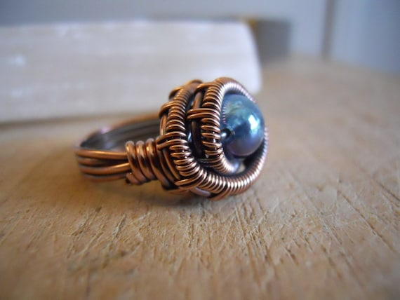 Aqua Aura Quartz Bead Ring Weave Wrapped in Oxidized Copper Wire Ring Size 4 1/2  HOLIDAY SALE