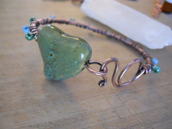 Ceramic Heart Bangle Bracelet with Blue and Green Seed Beads Wrapped in Oxidized Copper Wire