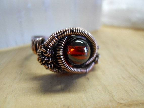 Cubic Zirconia Garnet Red Round Bead Wrapped in Oxidized Copper wire A Handcrafted Ring Size 8 3/4