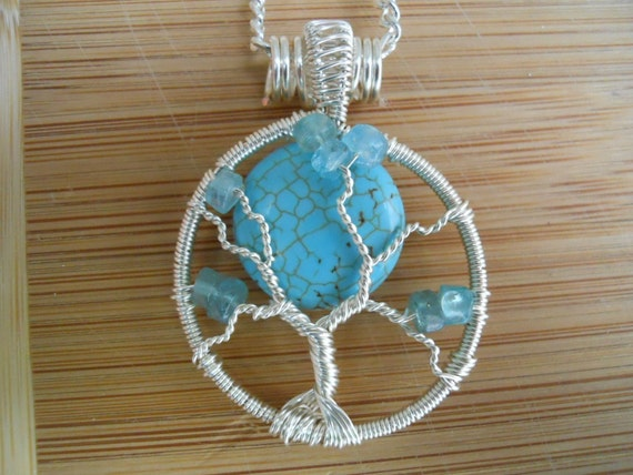 Tree of Life Wire Wrapped Pendant Howlite in Turquoise Aqua Apatite and Silver Parawire