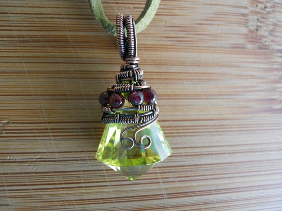 Peridot Green Cubic Zirconia Faceted Drop with Garnet beads Wrapped in Oxidized Copper wire Pendant