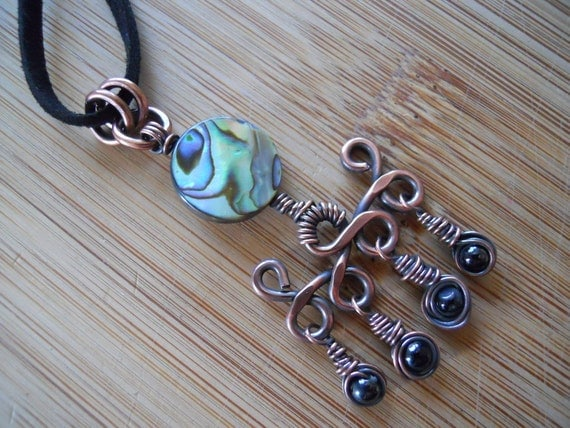 Abalone Shell Black Onyx beads Wire Wrapped in Oxidized Copper wire Dangle Pendant