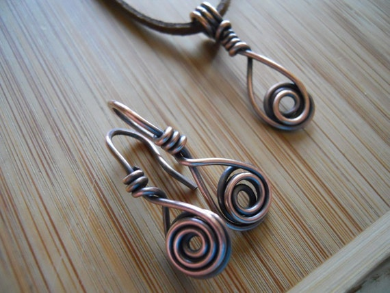 Urban Industrial Oxidized Copper Wire Wrapped Pendant and Earrings with 16 gauge earwires