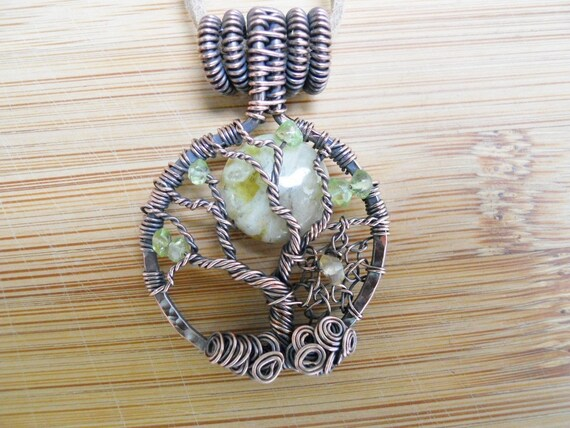 Tree of Life Pendant Green Agate Moon Citrine Web Peridot Wire Wrapped in Hammered Oxidized Copper Wire