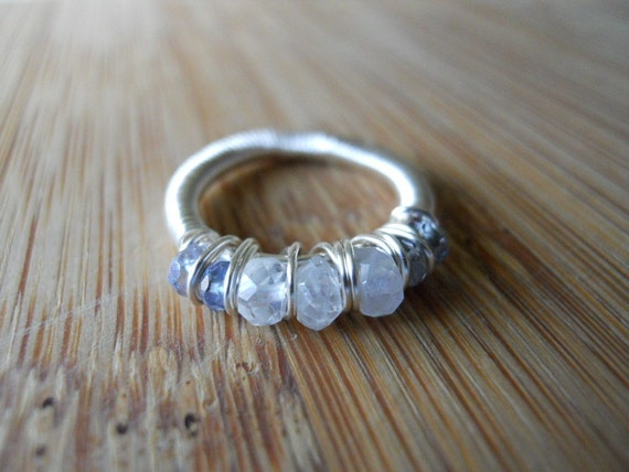 Moonstone and Blue Mystic Quartz Wire Wrapped in Non Tarnish Silver Wire Ring Size 4