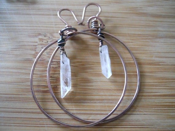 Oxidized Copper  Wire Wrapped Hoop Earrings with Removable Quartz and Black Tourmaline Dangle Charms 16 gauge wire For Larger Holes