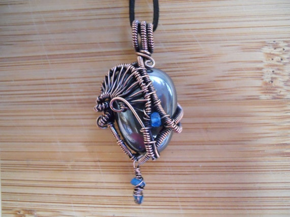 Mirror Black Hematite Tumbled Stone Pendant with Apatite beads Wire Wrapped in Oxidized Copper