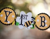 Bee Birthday Banner - Happy 1st Bee Day - Bee Theme Garland - Beehives 1st birthday or ANY age Sign - Spring Garden Party Decorations