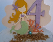 Mermaid Cake Topper - Under the Sea Theme Beach Pool Party - ANY Colors - Mermaid Birthday Decorations - Smash Cake Topper - Little Mermaid