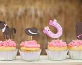 Cowgirl Cupcake toppers Set of 12 - Giddy Up Pony Western Food Party Picks - Cowgirl Boots - Cowgirl Baby Shower