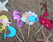 Mermaid Cupcake Toppers - Set of 8 - Under the Sea Theme Party Cake Toppers - Mermaid Cake Baby Shower - Under the Sea Friends Creatures