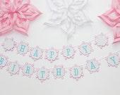 Winter Onederland Birthday Garland - Winter Wonderland Banner- Snowflake Theme - Snow 1st Birthday Party - Winter Baby Shower Garland