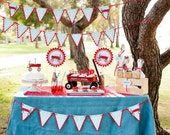Little Red Wagon Birthday Party Package - Vintage toys theme Garland Birthday Banner - Little Red Wagon Baby Shower - Cupcake Toppers - Tags
