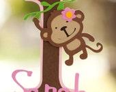 Monkey Jungle Cake Topper - Girly Mod Monkey Birthday Cake Decorations - 1st Birthday Jungle Theme Zoo Safari - ANY AGE - Jungle Party Cake