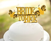 Bride to Bee Bridal Shower Cake Topper Black and Yellow - Bee Themed Bridal Shower Party - Meant to Bee Decorations - Bumble Bee Party Decor