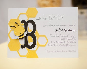 Bee Baby Shower Invitations Set of 10 //Bumble Bee//B is for Baby//What will it bee? Invites 3D Handmade Customizable Party/Gender reveal