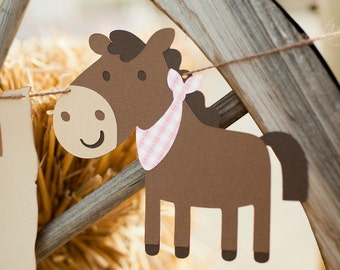 Cowgirl Birthday Garland - Giddy Up Pony Party Banner - Western Baby Shower Garland - Horse Birthday - Gingham Party Checkered Farm Bash