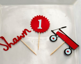 Little Red Wagon Birthday Personalized Cupcake toppers - Set of 12 - Red Wagon Theme Birthday - Baby Shower Vintage Toys Party Personalized