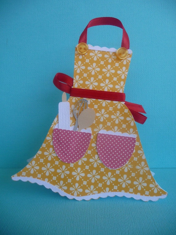 Kitchen Apron Shaped Mothers Day Card Handmade
