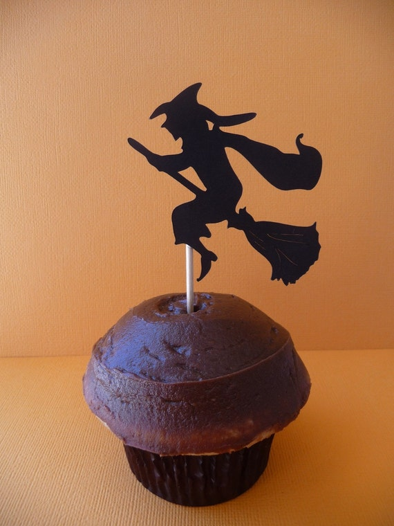 Halloween Cupcake Toppers Set of 6 Eerie Scary Silhouettes