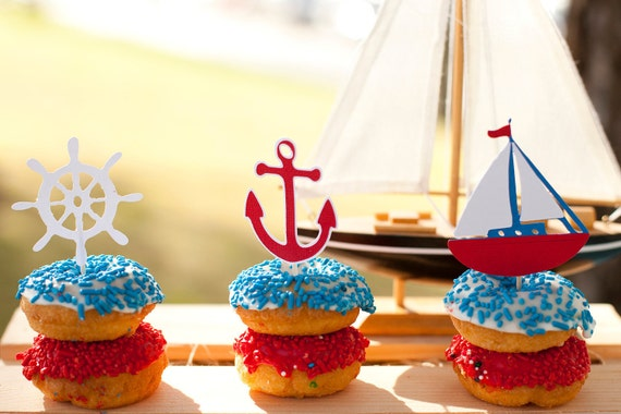 Nautical Cupcake Toppers Set of 12 - Sailboat Baby Shower - Little Sailor Birthday - AHOY It's a Boy - Sailboat Decorations - Anchor Party