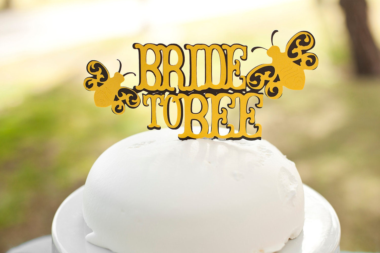 Bride To Bee Bridal Shower Cake Topper Black And Yellow