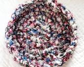 Spring Bouquet Rag Basket - Crochet Fabric Strips Shabby Chic