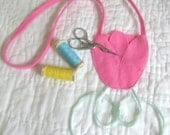 Pink Tulip Scissors Chatelaine - Wool Felt - Ribbon Thread Holder - Quilting - Embroidery - Hand Stitching - Sewing