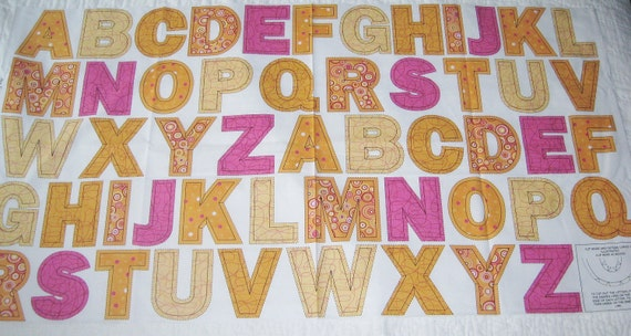 ABC Alphabet Fabric Panel - Great for Applique or Letters Set School Educational Sew Easy as 123 RJR Fabrics