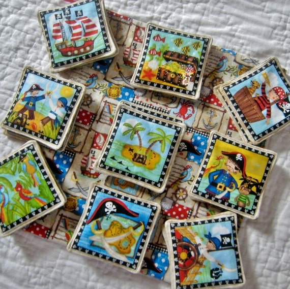 X Marks the Spot Pirate Memory Matching Game - Educational for Children Fabric