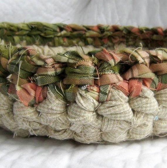 Sage & Rose Petals Basket - Crochet Fabric Strips Shabby Chic