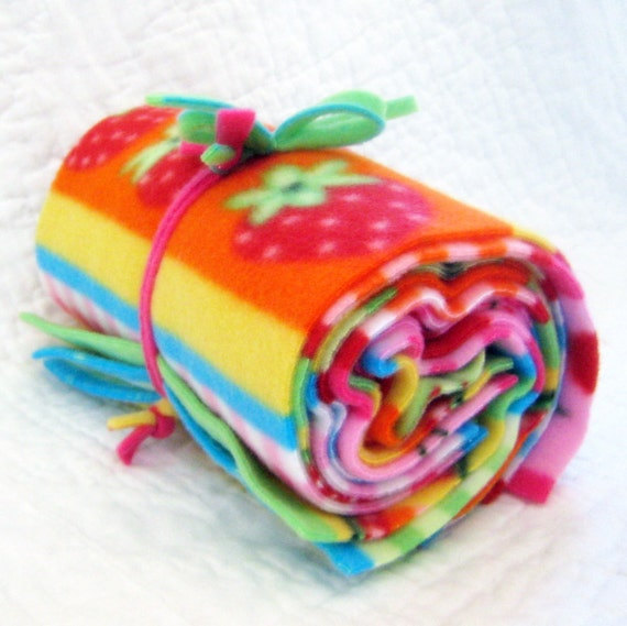 Fruit Salad Wipe & Wash - Reusable Fleece Fabric Wipes Feeding Baby Toddler Eco Friendly Go Green Rainbow Colors