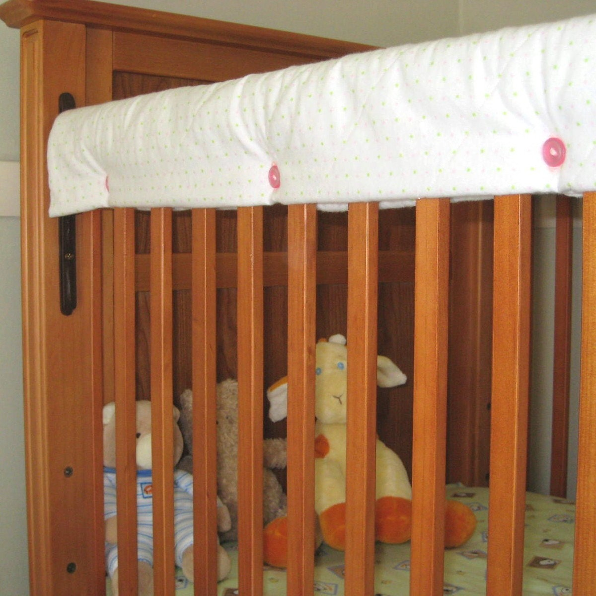 Quilted Fabric Crib Rail Guard Protector White With Pink And