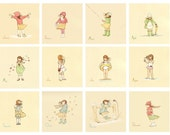 Children's Wall Art Prints - Her Month by Month SET (12 - 8x8s) - Girl Kids Nursery Room Decor