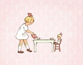 Children's Wall Art Print - Addie's Tea Party - Girl Kids Nursery Room Decor