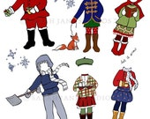 Paper Dolls - PDF Printable - Winter Days - 6 dolls and outfits