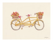 Children's Wall Art Print - Going Tandem - Kids Nursery Room Decor