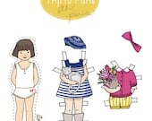 Paper Dolls - PDF Printable - My First Trip to Paris - 6 dolls and outfits