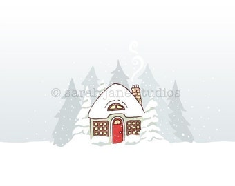 Children's Wall Art Print - Snow on Snow - Kids Winter Holiday Decor