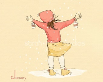 Children's Wall Art Print - January's Fresh Start - 8x8 - Girl Kids Nursery Room Decor